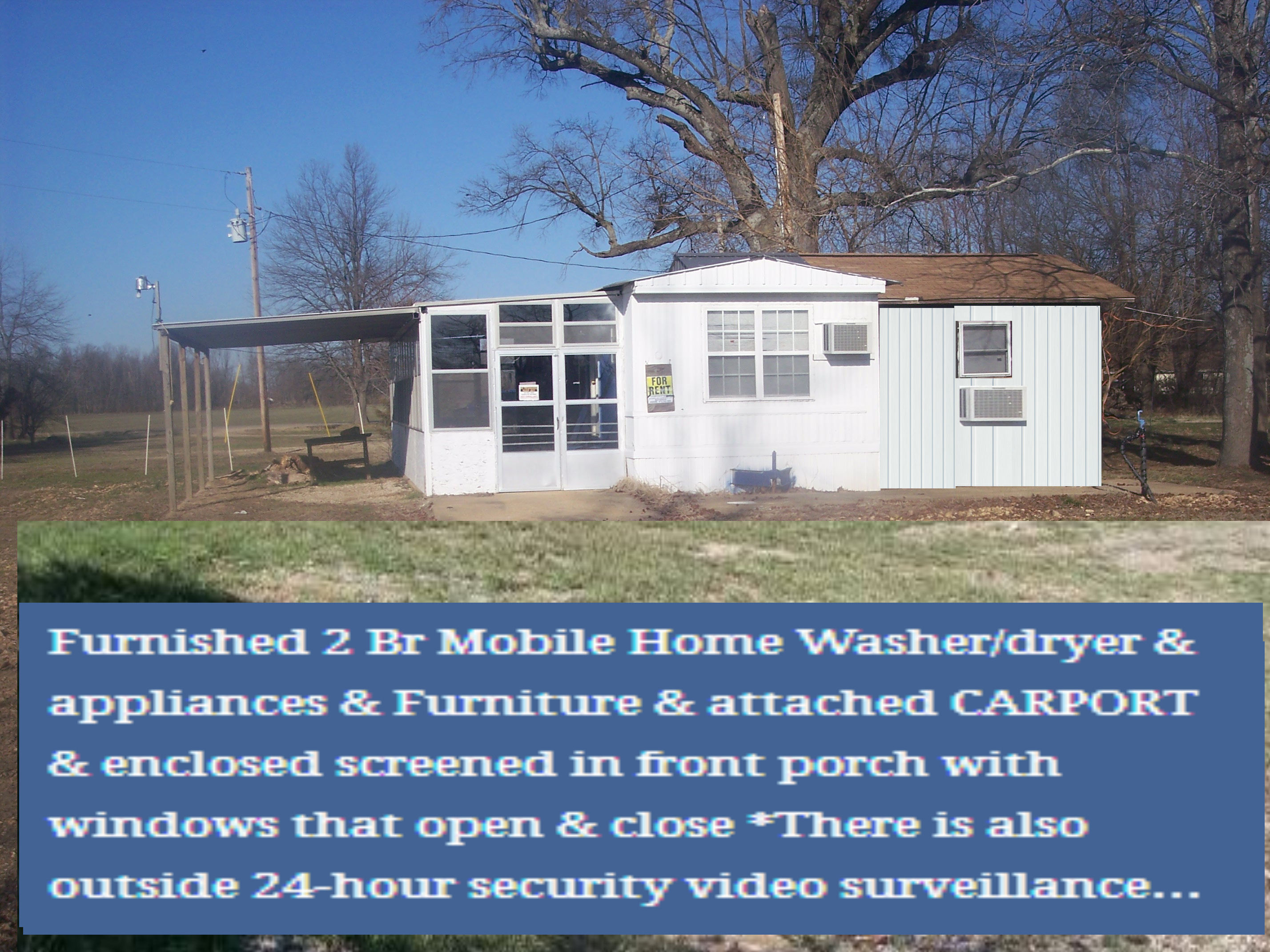 Furnished 2 Br Mobile Home Washer/dryer U0026 Appliances U0026 Furniture U0026 Attached  CARPORT U0026 Enclosed Screened In Front Porch With Windows That Open U0026 Close  All ...